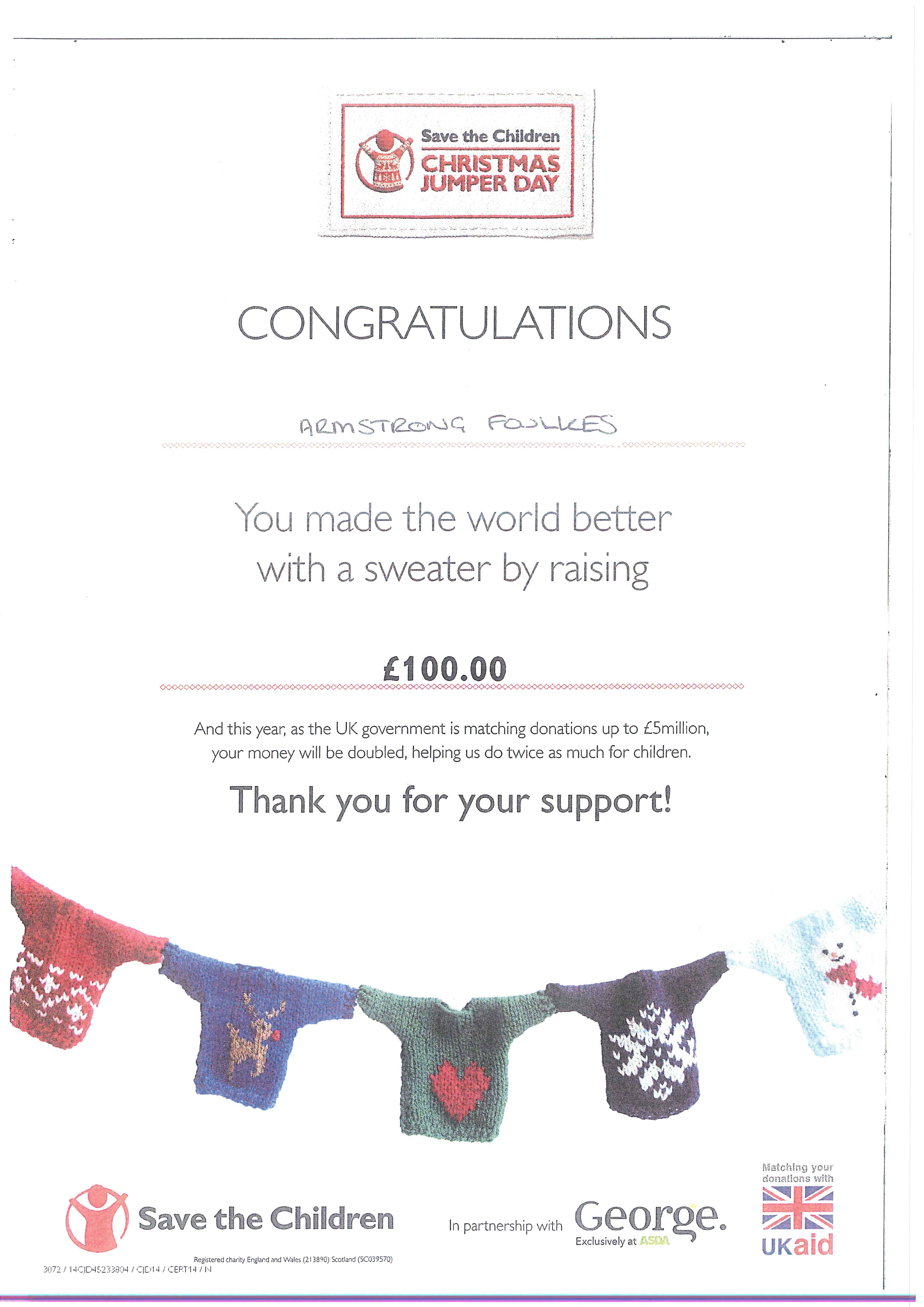 Christmas Jumper Day 2019 Save The Children.Christmas Jumper Day 2014 Update Armstrong Foulkes